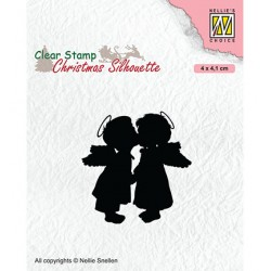 (CSIL012)Nellie's Choice Clear stamps Christmas Silhouette Two kissing angels