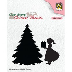 (CSIL013)Nellie's Choice Clear stamps Christmas Silhouette Thank you Santa!!