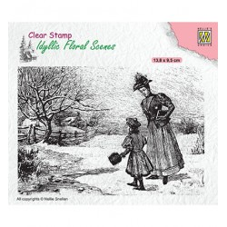 (IFS024)Nellie`s Choice Clearstamp - Vintage wintery scene