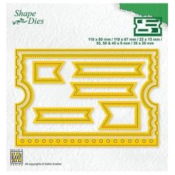 (SD178)Nellie's Shape Dies Ticket booklet- 7 pcs