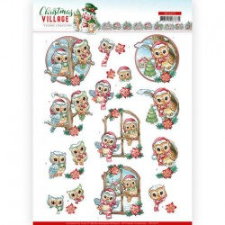 (SB10475)3D Push Out - Yvonne Creations - Christmas Village - Christmas Owls