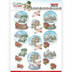 (SB10476)3D Push Out - Yvonne Creations - Christmas Village - Christmas Globes
