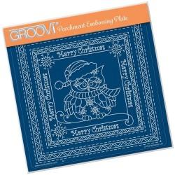 (GRO-CH-41571-03)Groovi Plate A5 LINDA WILLIAMS CHRISTMAS SNOWFLAKE OWL