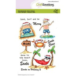 (1692)CraftEmotions clearstamps A6 - Santa on Holiday 2 Carla Creaties