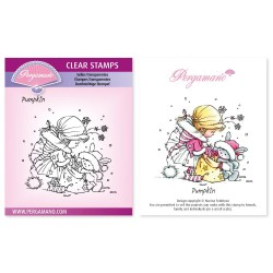 (PER-ST-70367-A6)Pergamano clear stamp CHRISTMAS POPPETS - PUMPKIN