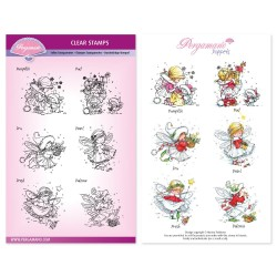 (PER-ST-70365-A5)Pergamano clear stamp CHRISTMAS MINI POPPETS A5 STAMP SET