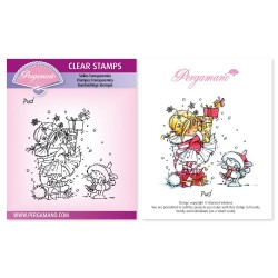(PER-ST-70368-A6)Pergamano clear stamp CHRISTMAS POPPETS - PUD