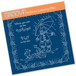 (GRO-LW-41557-03)Groovi Plate A5 LINDA'S CHILDREN - SPRING - PLAY IN THE RAIN