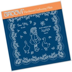 (GRO-LW-41560-03)Groovi Plate A5 LINDA'S CHILDREN - AUTUMN - GIRL WITH GEESE
