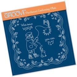 (GRO-LW-41561-03)Groovi Plate A5 LINDA'S CHILDREN - AUTUMN - BOY WITH KITE