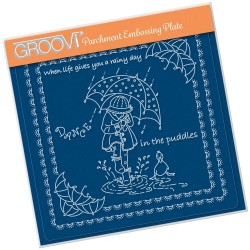 (GRO-LW-41556-03)Groovi Plate A5 LINDA'S CHILDREN - SPRING - DANCE IN THE PUDDLES