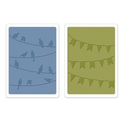 (658379)Embossing folders Birds & Banners