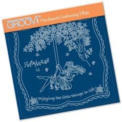 (GRO-LW-41558-03)Groovi Plate A5 LINDA'S CHILDREN - SUMMER - GIRL ON A SWING