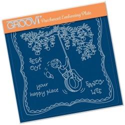 (GRO-LW-41559-03)Groovi Plate A5 LINDA'S CHILDREN - SUMMER - BOY ON A TYRE