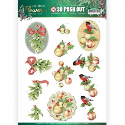 (SB10478)3D Push Out - Jeanine's Art – Christmas Flowers - Mistle Toe