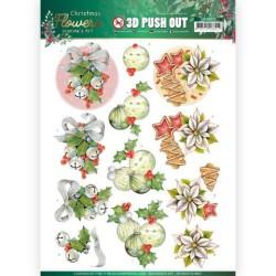 (SB10479)3D Push Out - Jeanine's Art – Christmas Flowers - Christmas Bells