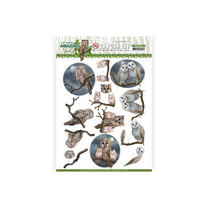 (SB10486)3D Push Out - Amy Design - Amazing Owls - Night Owls