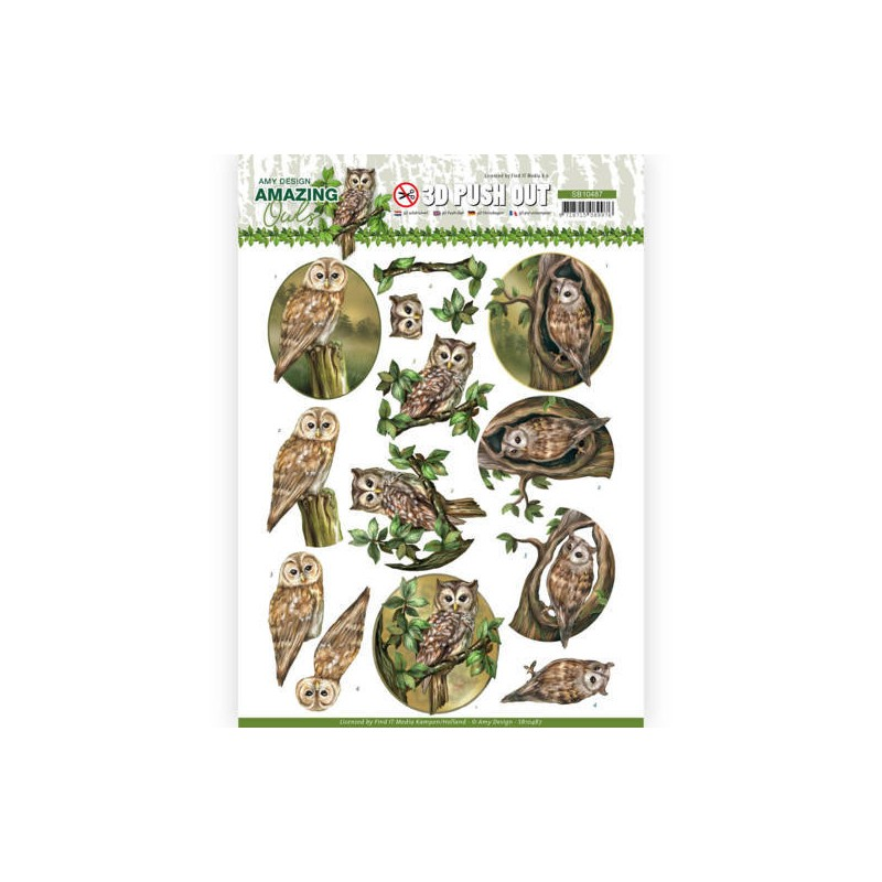 (SB10487)3D Push Out - Amy Design - Amazing Owls - forest Owls