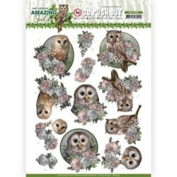 (SB10489)3D Push Out - Amy Design - Amazing Owls - Romantic Owls