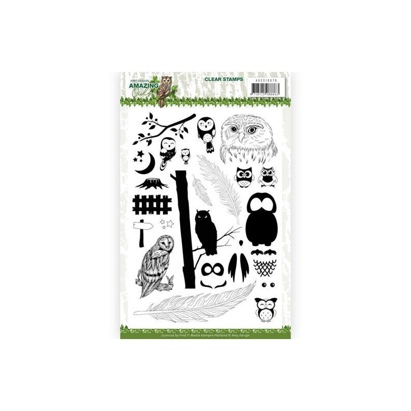 (ADCS10070)Clear Stamps - Amy Design - Amazing Owls