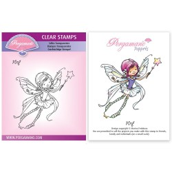 (PER-ST-70384-A6)Pergamano clear stamp WHIMSY POPPETS - PING STAMP