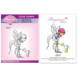 (PER-ST-70385-A6)Pergamano clear stamp WHIMSY POPPETS - PIPPIN STAMP