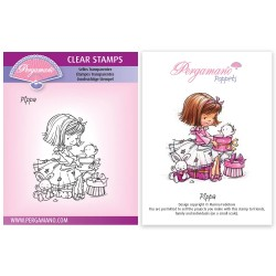 (PER-ST-70375-A6)Pergamano clear stamp FLOWER POPPETS - PIPPA STAMP