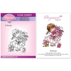 (PER-ST-70376-A6)Pergamano clear stamp FLOWER POPPETS - PRIMROSE STAMP