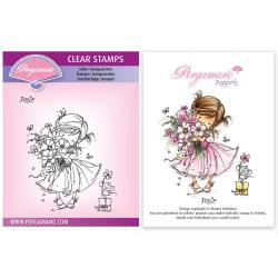 (PER-ST-70377-A6)Pergamano clear stamp FLOWER POPPETS - POSIE STAMP