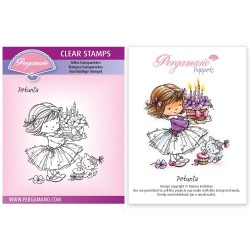 (PER-ST-70378-A6)Pergamano clear stamp FLOWER POPPETS - PETUNIA STAMP