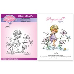 (PER-ST-70379-A6)Pergamano clear stamp FLOWER POPPETS - PETAL STAMP