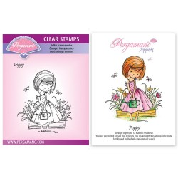 (PER-ST-70380-A6)Pergamano clear stamp FLOWER POPPETS - POPPY STAMP