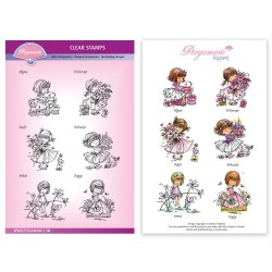 (PER-ST-70388-A5)Pergamano clear stamp FLOWER MINI POPPETS STAMP SET