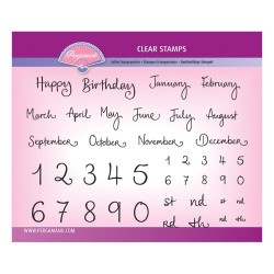 (PER-ST-70390-A5)Pergamano clear stamp BARBARA'S MONTHS & NUMBERS STAMP SET