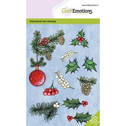 (130501/0103)CraftEmotions clearstamps A6 - Christmas bauble with twigs GB Dimensional stamp
