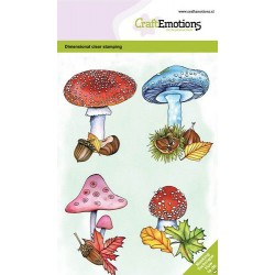 (130501/0105)CraftEmotions clearstamps A6 - Mushrooms GB Dimensional stamp