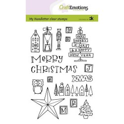 (130501/2202)CraftEmotions clearstamps A6 - handletter - X-mas decorations 1 (Eng) Carla Kamphuis