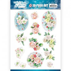 (SB10491)3D Push Out - Jeanine's Art - The colours of winter - Pink winter flowers