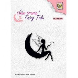 (FTCS019)Nellie's Choice Clear Stamp Fairy Tale nr. 17 Elf on moon