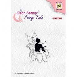 (FTCS020)Nellie's Choice Clear Stamp Fairy Tale nr. 18 Elf sitting on flower