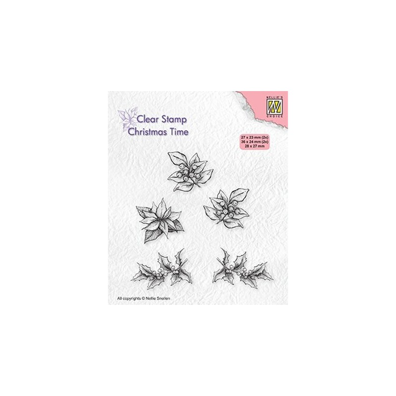 (CT036)Nellie's Choice Clear stamps Christmas time Poinsettia