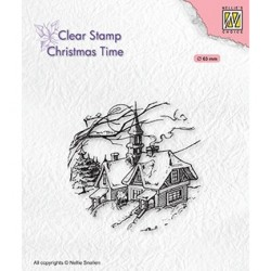 (CT038)Nellie's Choice Clear stamps Christmas time Snowy Christmas scene