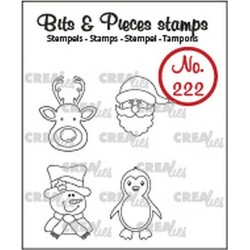 (CLBP222)Crealies Clearstamp Bits & Pieces Mini reindeer, santa claus, penguin