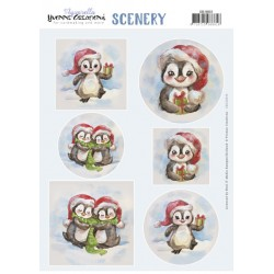 (CDS10033)Push Out Scenery - Yvonne Creations - Aquarella - Christmas Penguin