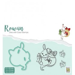 (RDCS001)Nellie's Shape Dies with clear stamp Christmas rabbit