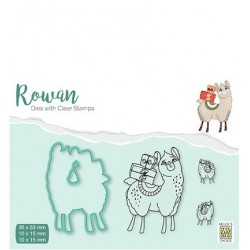(RDCS002)Nellie's Shape Dies with clear stamp Christmas Lama