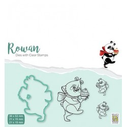 (RDCS003)Nellie's Shape Dies with clear stamp Christmas Panda