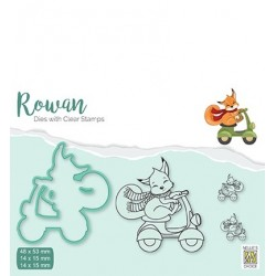 (RDCS004)Nellie's Shape Dies with clear stamp Christmas Fox