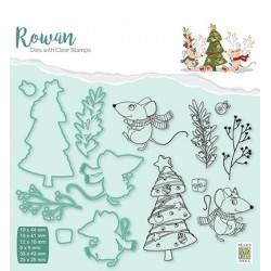(RDCS007)Nellie's Shape Dies with clear stamp Christmas mouse-3 Christmas tree