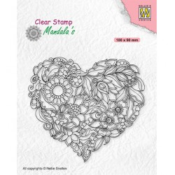 (CSMAN001)Nellie's Choice Clear stamps Mandala Flower heart